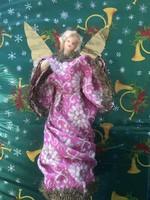 Antik viaszfejű angyal karácsonyfadísz csúcsdísz