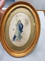 Selyemre festett Mária kép