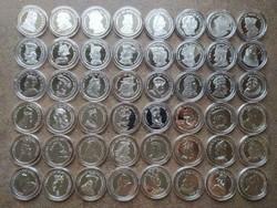 Királyi koronák 48 darabos .999 színezüst 20 gr érem kollekció certikkel (id39683)