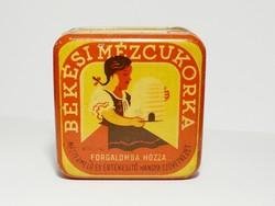 Régi és szép állapotú Békési Mézcukorka cukorkás fémdoboz Hangya Szövetkezet 1930-40