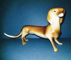 Hollóházi kutya, tacskó porcelán, Art Deco, Vintage/ Retro Nipp