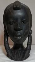 Faragott, ébenfa afrikai női fej - 8.