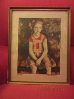 Imre István: Ülő lány, színezett rézkarc 29,5x38,5 cm