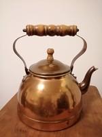 Réz teáskanna fa fogóval
