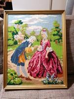 Kivételesen szép, nagyméretű gobelin kép fa keretben, ragyogó színekben, hibátlan állapotban