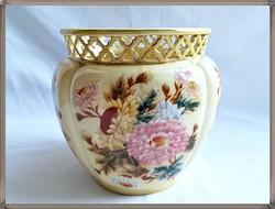 Nagyméretű krizantém mintás antik Zsolnay porcelán porcelán kaspó