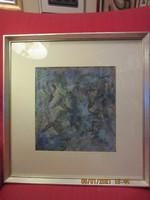 XX. századi alkotó: Futok, dinamikus absztrakt olajfestmény  30x30 cm