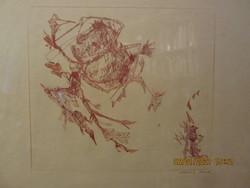 Almásy Aladár: Don Quijote rézkarc, 28,5x25 cm