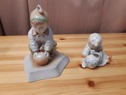 Zsolnay kisfiú labdával és kislány köcsöggel