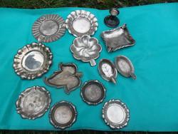 Ezüst  tálka gyűjtemény hamuzóval kis gyertyatartóval