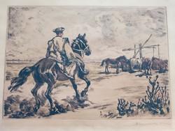 Benyovszky István szinezett rézkarc 47x65 cm