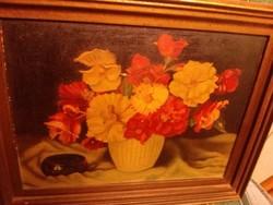 Virágcsendélet hamutállal olajfestmény