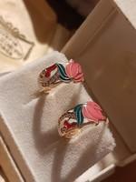 Vintage aranyozott tulipános fülbevaló színes zománccal
