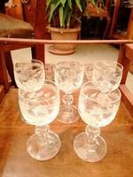 5 db hibátlan régi, csiszolt üveg kupicás pohár együtt