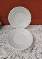 2  db Zsolnay Gyönyörű hófehér  Indamintás mélytányér+ lapostányér Paraszti tányérok, nosztalgia