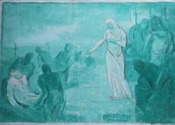 LEVÉTEL A KERESZTRŐL - vegyes technika 35x51 cm papíron (Biblia, Jézus Krisztus, vallás, keresztény)