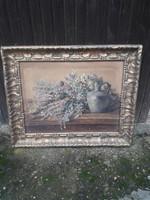 Szignált antik festmény. Olaj karton.