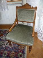 2 db   barokk fotel,  zöld bársony kárpittal