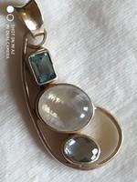 Holdkő Akvamarin Topáz medál 925