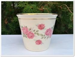 Ritka rózsa mintás antik Zsolnay porcelán virágcserép
