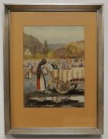 Ulrich Géza Vásárban, akvarell kép