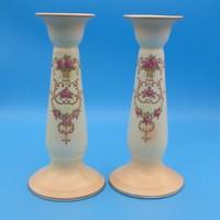 Virágkosaras, rózsás Crown Ducal angol porcelán gyertyatartó pár