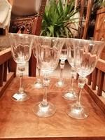 6 db elegáns  ólomkristály boros pohár, komplett szett