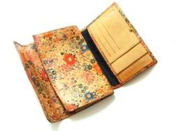 Régi festett puha bőr brifkó, virágmintás pénztárca