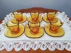 Borostyán sárga üveg retro presso kávés készlet original