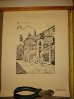 "R.Gallardo '83, litográfia, ""Restaurante Ruta del Veneta"", méret jelezve!"