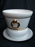 Royal Tettau porcelán kaspó aranyozott fogóval díszített, alátéttel