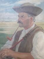 """Pipázó csikós (olajfestmény, vászon, """"Várady L."""", 50x71 cm) pusztai portré, arckép, ménes pásztora"""