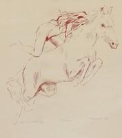 Melocco Miklós ló és lány rézkarc