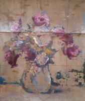 Rózsacsokor csendélet - olajfestmény vászonra, 22x27 cm (virágok, vörös rózsák, kis kép)