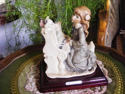 Kislány a zongoránál... Eredeti Capodimonte, Giuseppe Armani, jelzett, hibátlan szobor
