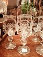 5 db régi csiszolt boros pohár, 19,5 cm magas