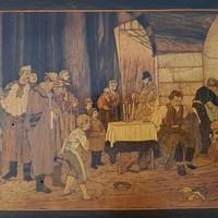 """""""Munkácsy Mihály, Siralomház"""" fa intarzia 36x30,3cm kerettel együtt"""""""