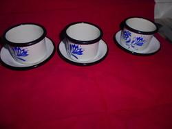 3 db Zománcos  csésze és csészealj -az ár az egészre vonatkozik
