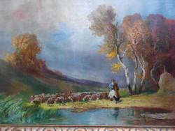Burchard Bélaváry István (1864-1933) Itatás, nagyméretű, olaj vászon.Hibátlan, impozáns keret