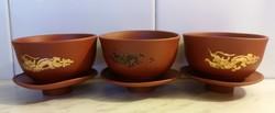 Terrakotta kínai teáscsészék alátéttel