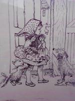 Róna Emmy (1904-1988) Mese illusztráció, tusrajz,keretben. Hibátlan, gyűjtői darab.