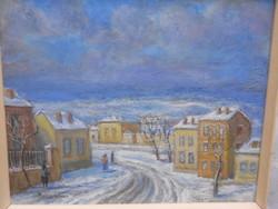 Bokor Vilmos (1897-1984) Budai utca c. alkotása. Olaj-farost. Kiállítási etikett a hátulján.