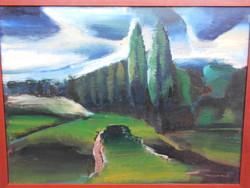 Darabont Tamás (1930-) Táj c. alkotása, Képcsarnokos, nagyméretű festmény,kerettel. Hibátlan.