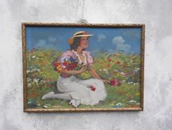 Illencz Lipót (1882-1950) Lány virágokkal, olaj-karton, romantikus alkotása, kerettel