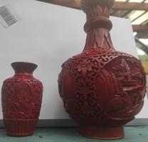Kinai cinóber lakkfaragasos zomancozott réz vázapár eladó