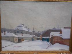 Szöllősy János (1884-?) Havas utca, nagybányai festő olaj-vászon alkotása.Nagyméretű,hibátlan keret