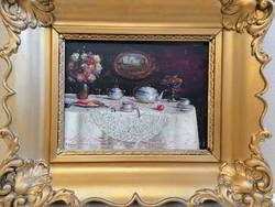 Hibátlanul szép festmény ! Radnainé Bauer Erzsébet (1897-1976): Asztali csendélet