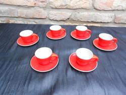 RITKA.6 db Zsolnay, art deco tűzpiros kávés csésze, csészealjjal. Jelzett, hibátlan készlet.