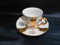 MZ Czechoslovakia, porcelán csésze, dúsan aranyozott, finom formatervezés, kecses fülkidolgozás