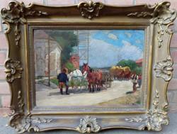 Zombory Lajos: Szolnoki utca lovaskocsival